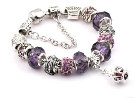 Fashion 925 Sterling Silver Purple Crystal Murano Lampwork Glass & Crystal European Charm Beads Fits Pandora Charm bracelets Style Bracelets