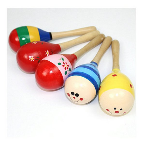 new DHL 200pcs Baby Wooden Toy Rattle Baby cute Rattle toys Orff musical instruments Educational Toys baby Sand ball sand hammer 12-20cm