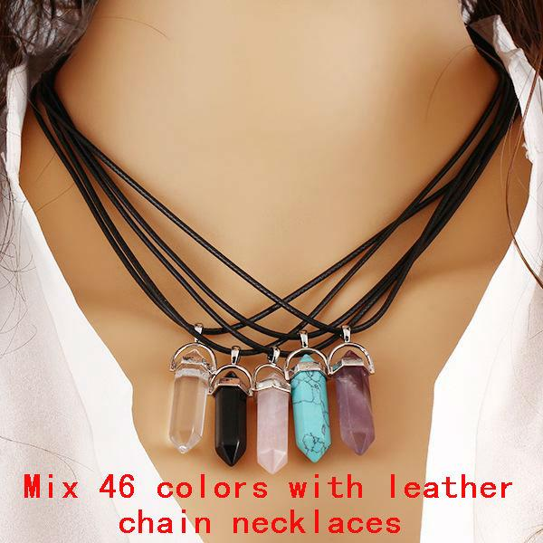 Mix Natural Stone leather Necklaces