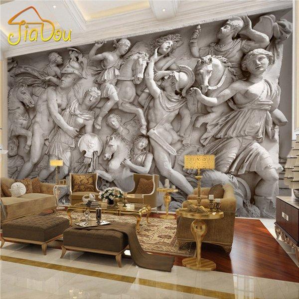 best selling Wholesale- Custom 3D Photo Wallpaper European Retro Roman Statues Art Wall Mural Restaurant Living Room Sofa Backdrops Wall Paper Mural 3D