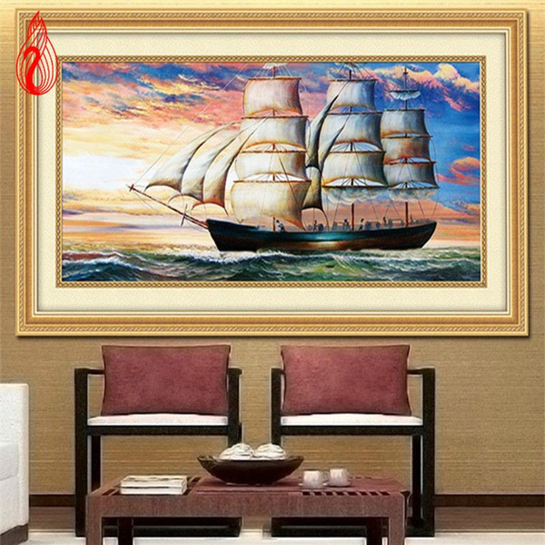 Promotion DIY Diamond Mosaic 5D Round Rhinestones Sailing on the sea Diamond Painting Cross Stitch Diamond Embroidery Kits
