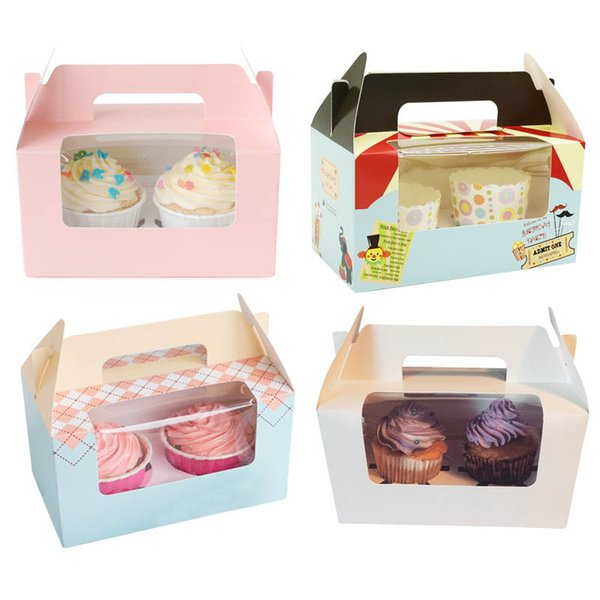 200pcs 14.7x16.5x9.3cm London circus cupcake boxes with window handles wholesalers Gift Packaging For Festival Party 2 Cup Cake Holders