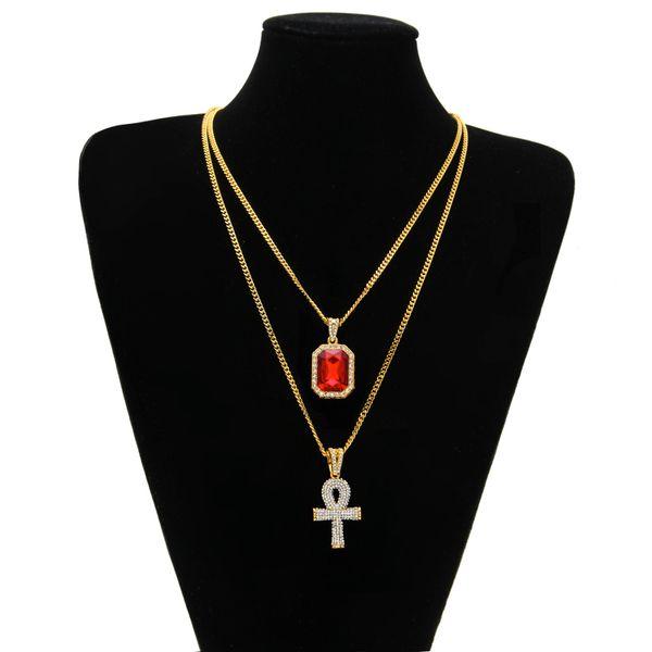 Egipcio Ankh Clave de la Vida Bling Rhinestone Cruz Colgante Con Rojo Rubí Colgante Collar Conjunto Hombres Hip Hop Joyería