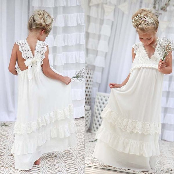 Beach Ivory Flower Girls Dresses V-Neck Lace Tiered Skirts Floor-Length First Communion Dresses Girls Pageant Gown Custom Made
