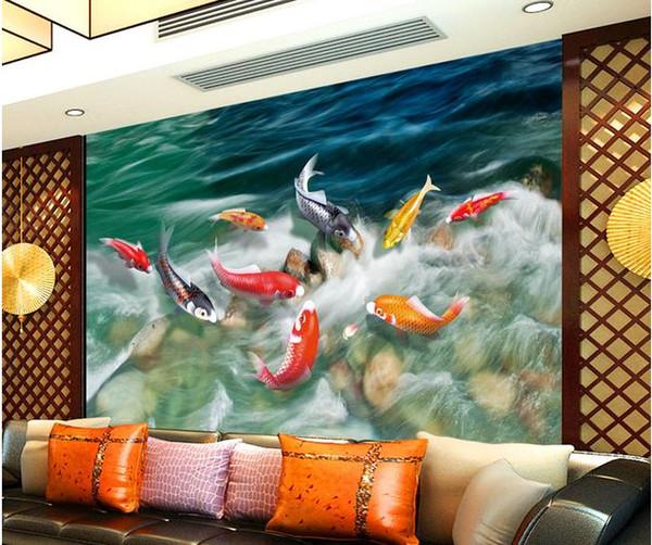 Acheter Haute Définition Neuf Poissons Peinture Murale Décoration Murale Peinture Murale 3d Papier Peint 3d Papiers Peints Pour La Toile De Fond Tv De