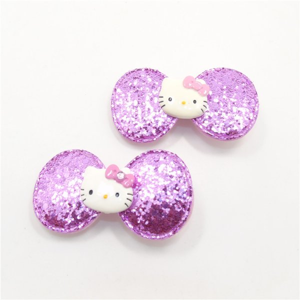 High Quality Purple Kitty Hairpin Cute Glitter Cat Handmade Sweet Girls Hair Clip Baby Head Wear Accessories Pretty Hair Grips