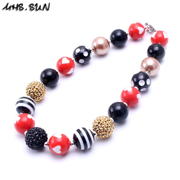 MHS.SUN Black+Red Color Design 2PCS Beaded Bubblegum Baby Kids Chunky Necklace Birthday Party Gift For Toddlers Girls Necklace Jewelry