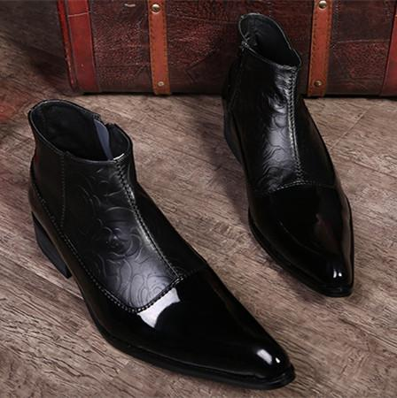 Wholesale Fashion Mens Boots Black Pointed Toe Genuine Leather Oxfords Wedding Ankle Boots Autumn High Top Dress Shoes For Men Big Size 46