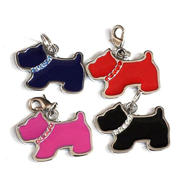 Cute Cartoon Dog Cat Shape Pet Safety Tag ID With Diamond Heart House Shape Drip Design Fit Pet Collar&Necklace Cheap 4 Color 1000PCS/LOT