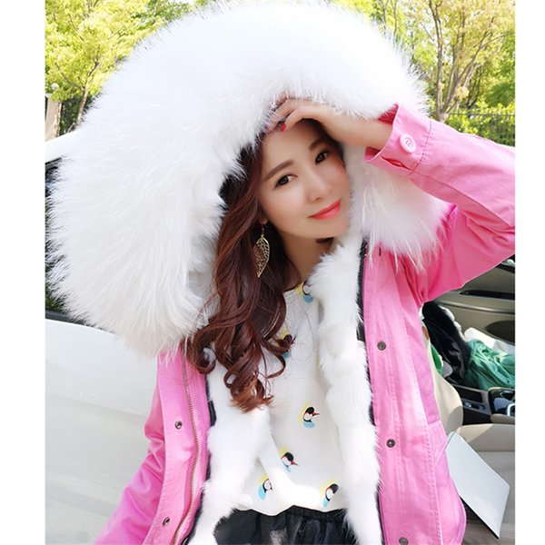 OFTBUY 2017 pink winter jacket women natural fur coat female parka real value Genuine fox fur liner raccoon fur collar hooded