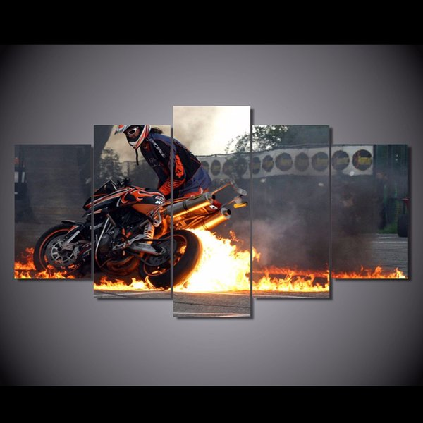 5Pcs/Set HD Printed Fire on the motorcycle Painting Canvas Print room decor print poster picture canvas oil paintings black and white