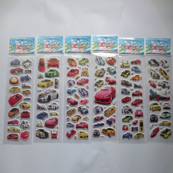 6 sheets/set cartoon car sticker 3D bubble stickers scrapbooking for kids Home decor Diary Notebook Label Decoration toy