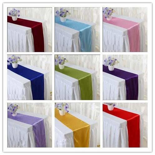 top popular 9 colors pick--10pcs 30cm * 275cm Wedding Table Runner Satin Table Runners Satin Ribbon Cloth Table Runner Wedding Banquet Decoration 2019