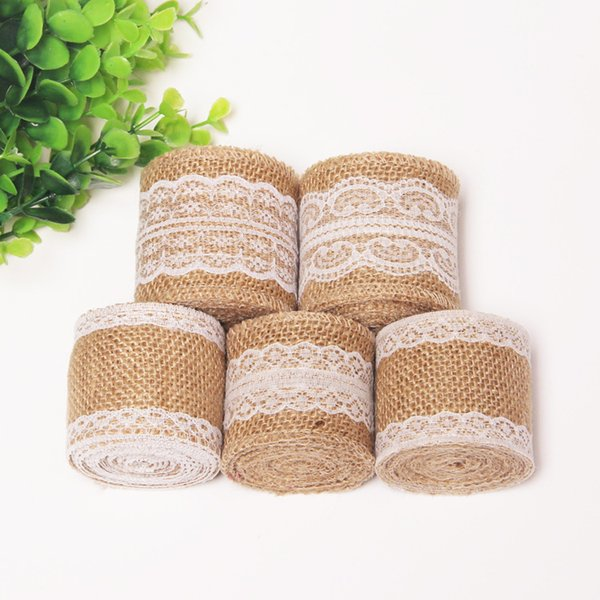 Jute Burlap Hessian Ribbon Lace DIY Riband Handmade Sewing Wedding Christmas Craft Corses Topper Crafts Textile Goods High Quality 2 4rr H