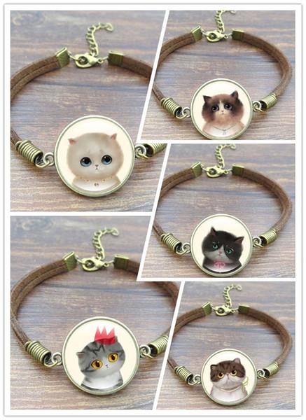 Hot!5pcs 5 Style Cute Cat Glass Cabochon Art Picture Bracelets & Bangles Vintage Brown Rope Charm Bracelets for Women men Jewelry Choose/Mix