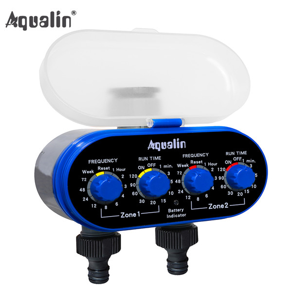 timer irrigation Home Ball Valve Electronic Two Outlet Four Dials Water Timer Irrigation System for Garden, Yard #21032A