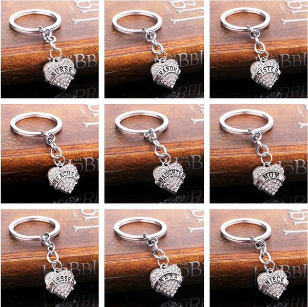 Christmas gifts peach heart flashing family members affection love engraved letter key ring key ring R002 Arts and Crafts mix order
