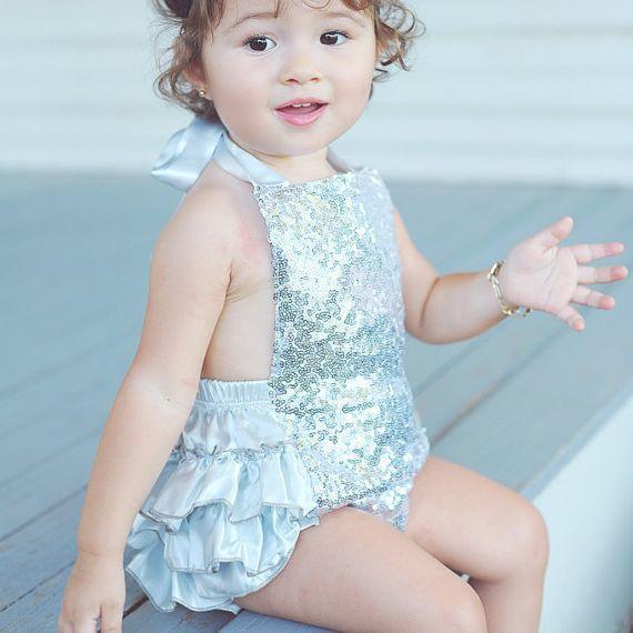 Venda quente Do Bebê Romper Do Bebê Meninas Rompers Verão Estilo Lantejoulas de Ouro Do Bebê Recém-nascido Menina Lantejoula Ruffle Romper Macacão Bodysuit 5 Cores