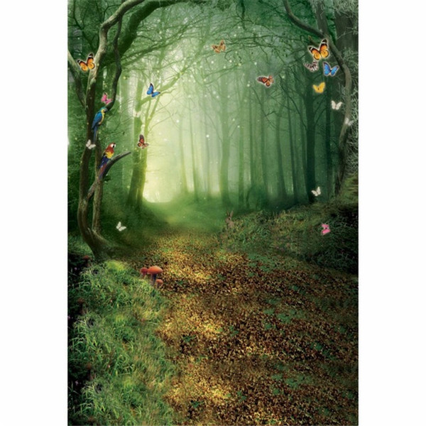 Fairy Tale Forest Scenic Photography Backdrops Colorful Butterflies Kids Children Photographer Backdrop Photo Studio Background 5x7ft