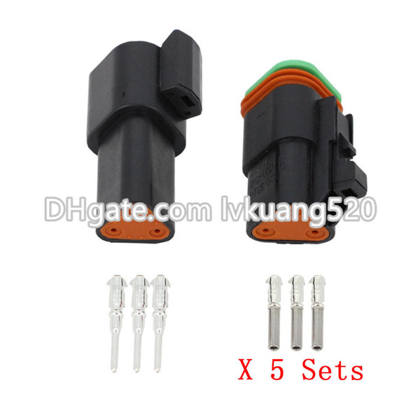 Black 5 Sets 3 Pin DT04-3P/DT06-3S Automobile waterproof wire electrical Deutsch Connector plug 22-16AWG