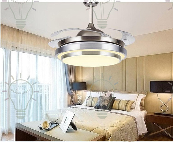 top popular 2017 Modern Chrome Round Shaped LED Ceiling Fan Lights with Foldable Invisible Blades 100-240v invisible ceiling fans led light 2021
