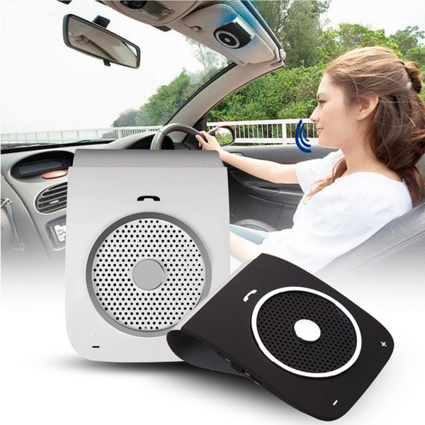 Wholesale-Bluetooth Bluetooth Car Kit Speakerphone Hands-free phone visor Clip Bluetooth voice dialing to cable + USB Car Charge