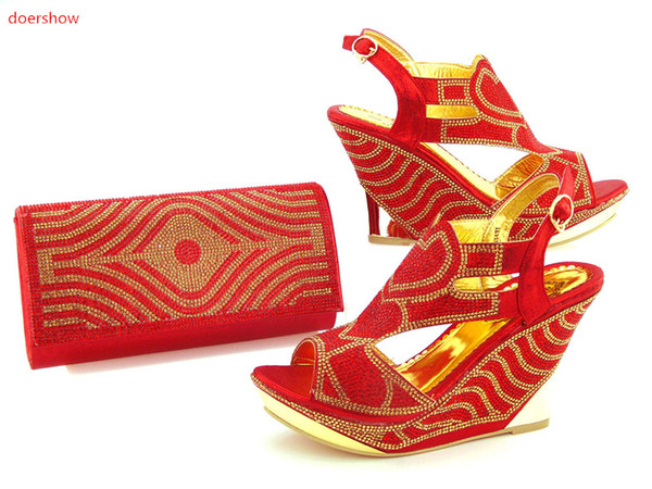 African Women Shoe and Bag to Match Set Decorated with Rhinestone New Design Italian Shoe and Bag Set for Party and Wedding ! KH1-36
