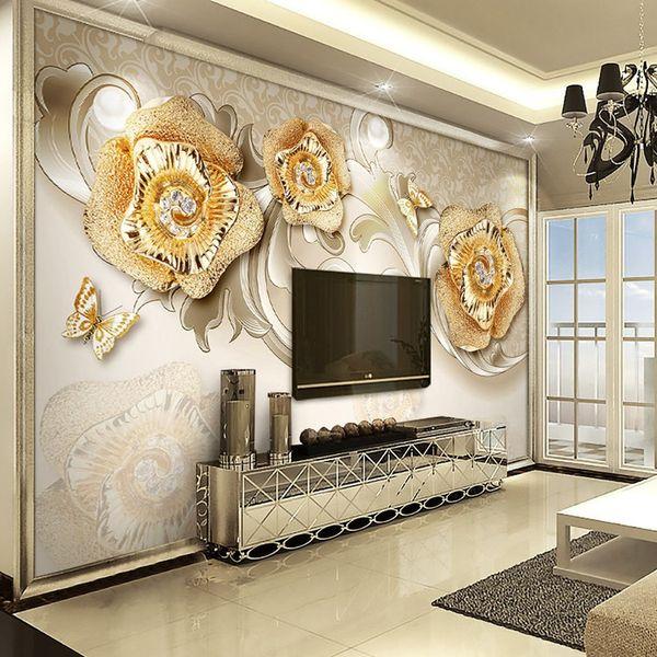 Großhandel Große Fresko Vliestuch Tapete Wohnzimmer Sofa TV Wand  Hintergrundbild 3D Stereo Nahtlose Einfache Moderne Goldene Rose Von  Andyhome88, ...