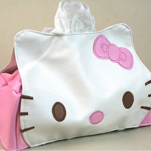 Wholesale- 2016 fashion Cute cartoon cat pink tissue case Home Car Tissue Case Box Container Towel Napkin Papers BAG Holder BOX Case Pouch