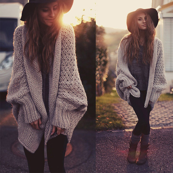 Wholesale- COMLESS 2016 Autumn Winter New Style Womens Cardigan Sweater Batwing Sleeve Knitted Sweaters Loose Fit Woman Top Sweaters