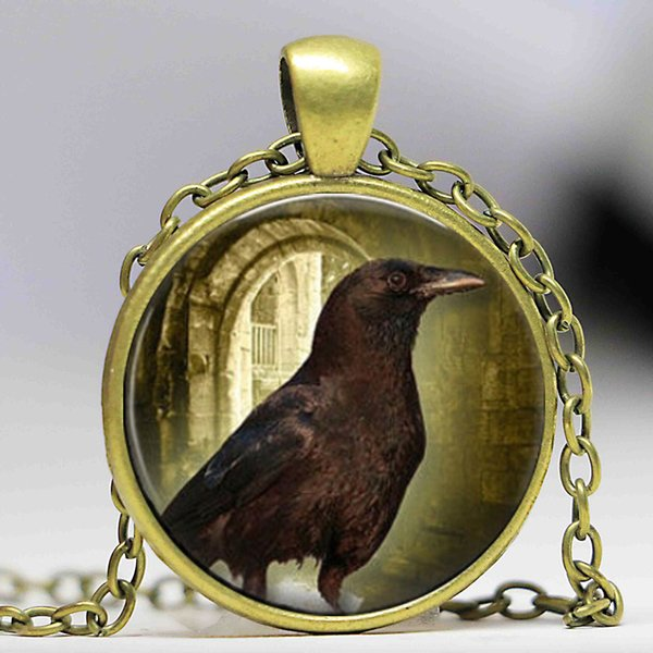 Free shipping Handmade Black RAVEN Bird In Moon Crow pendant RAVEN Art Glass Dome Pendant Necklace