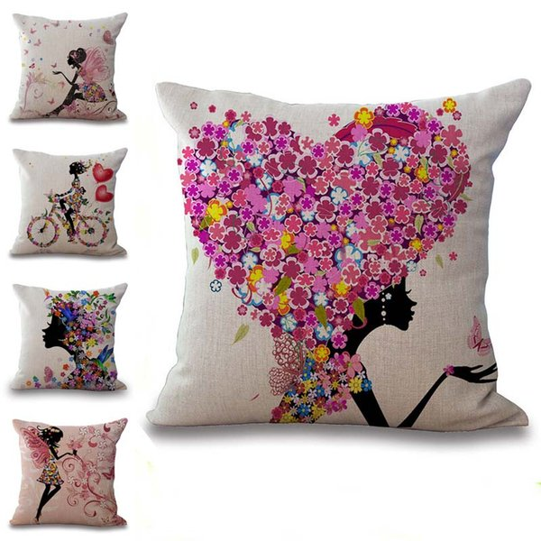 Beauty Girls Flora Love Flowers Pillow Case Cushion Cover Linen Cotton Throw Pillowcases Sofa Cars Decorative Pillowcover PW544