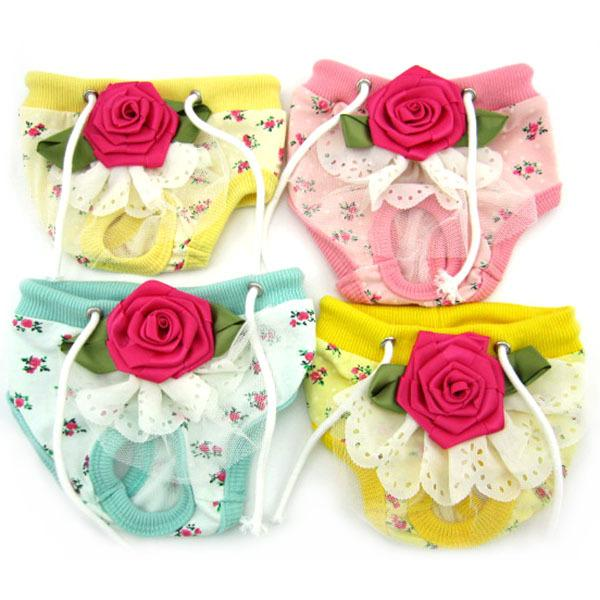 Pet Dog Floral Sanitary Panty Female Puppy Shorts Pant Diaper Cute Underwear