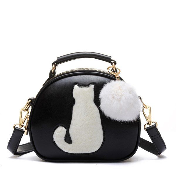 2017 Cat Printing Bag Ladies Crossbody Bags Circle Women Leather Handbags with Fur Ball Women Messenger Bag