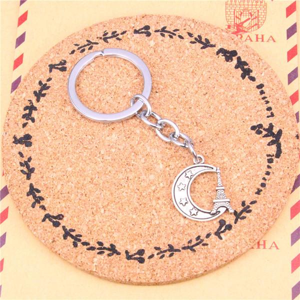 Porte-clés tour eiffel paris moon pendentifs bricolage hommes bijoux voiture porte clé anneau titulaire souvenir pour cadeau