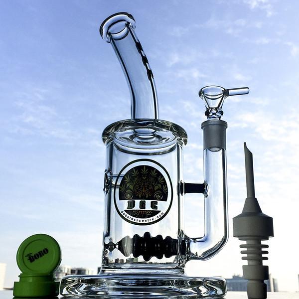 Glasmundstück Kleine Bong 9,5 Zoll Bienenstock Perc Bongs 5mm Dicke Mit Keramiknagelkappe Ball Perc Dab Rig Wasserpfeifen DGC1257