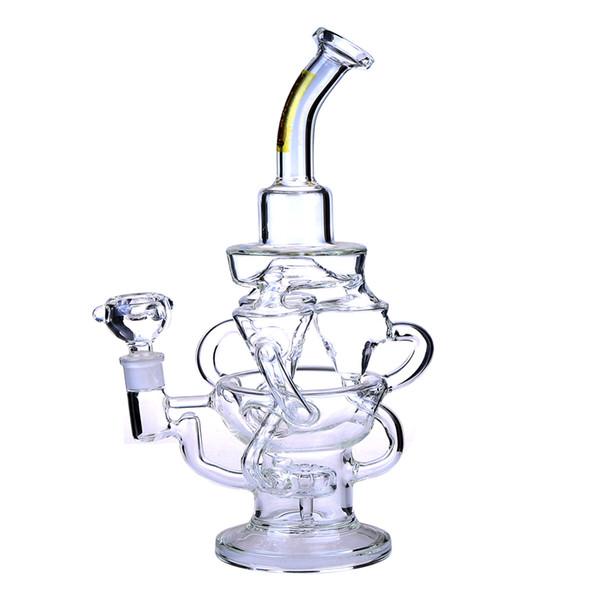 Recycler Glass Bong Dab Oil Rigs impresionante triple ciclón brazo en línea embriagador bongs engranaje perc tuberías de agua plataforma tazón cuarzo banger púrpura tubería