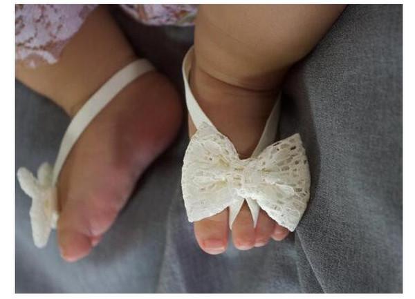 레이스 아기 발 꽃 손목 스트랩 유아 아기 소녀 발 장식품 사진 장식 바느질 신발