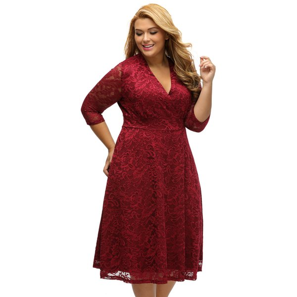 Fashion Large Size Xl Xxxl Ladies Big Hips Dress Sexy V Neck Seven Point  Sleeves High Waist Dress Plus Size Winter Dresses Purple Dress From ...