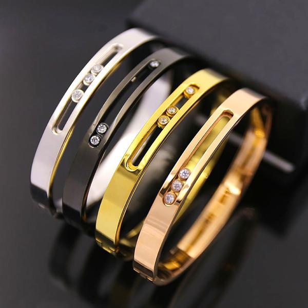 bracelets de bracelets d'amour en acier titane de la marque chaude bracelets de travail OL vent incrusté de trois boutons en acier creux snap silverT