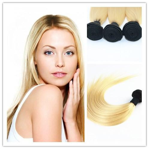 Wholesale Price Ombre Blond Hair Weaves Brazilian Straight Human Hair Extensions Remy Hair Bundles 100G/Piece