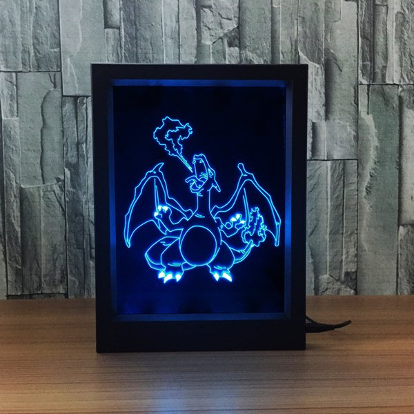 3D Charizard LED Photo Frame IR Remote 7 RGB Lights Battery or DC 5V Factory Wholesale Dropship Free Shipping