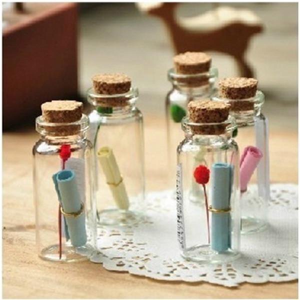 Wholesale- 50Pcs 0.5ml Cute Mini Small Tiny Empty Vuoto Wishing Fiale con bottiglie di vetro sughero Vasi contenitori