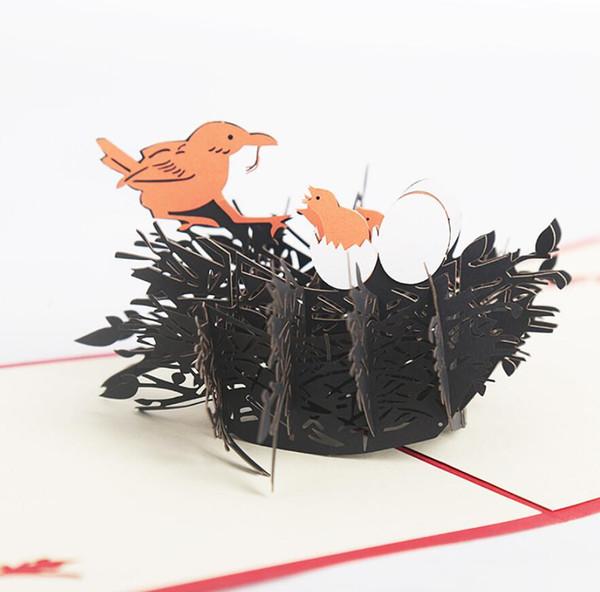 10pcs Bird Nest Handmade Kirigami Origami 3D Pop UP Greeting Cards Invitation card For Wedding Christmas Birthday Party Gift