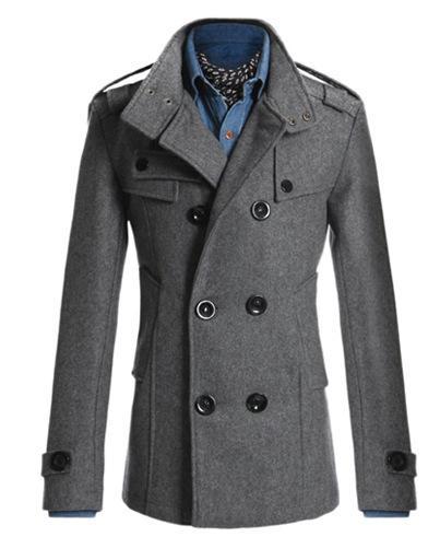 best selling Wholesale- Men's Wool Coat Winter Long Sections Thick Woolen Coats Men Fur Stand Collar Casual Slim Casaco masculino palto Peacoat Overcoat