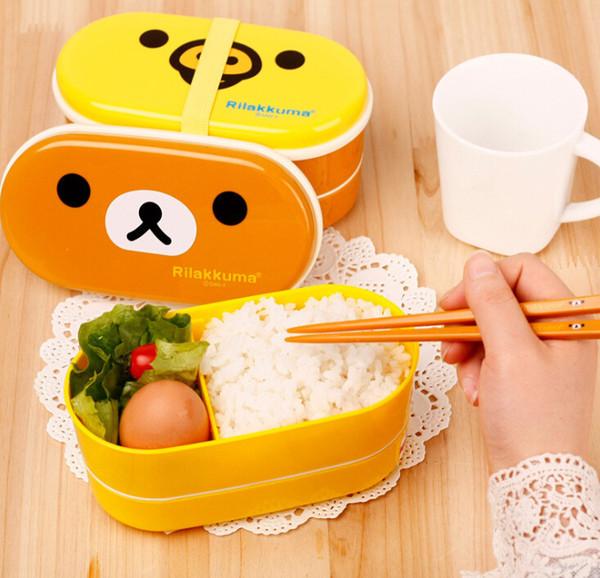 Hot DHL 200 PCS / LOT Brun Micro-Ondes Rilakkuma Bento Jaune Micro-ondes Nostrils Poulets Multicouches Enfants Lunch Box avec Des Baguettes