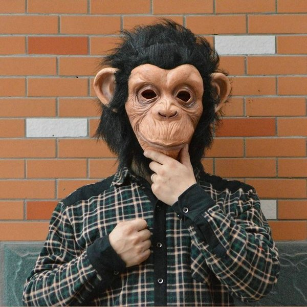 2016 Halloween Mask Animal Masks Latex Material Gorilla Masks Monkey King Comic Mask Lite With Hair