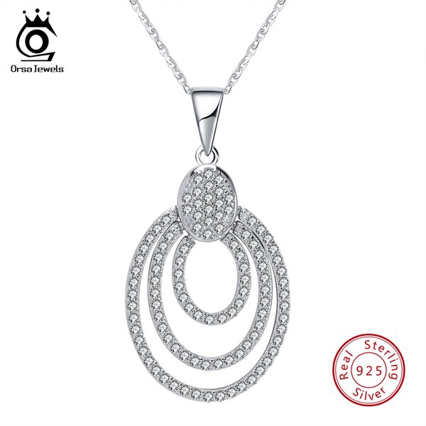 ORSA JEWELS Genuine Sterling Silver Women Necklace 925 Pendant With Chain Statement Bohemia Style CZ Female Jewelry SN67