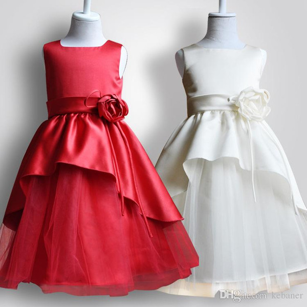 Princess Flowers Tulle Tutu Dress For Girls Multiple Layers Mesh Red And White Color Ball Gown Western Birthday Party Dresses