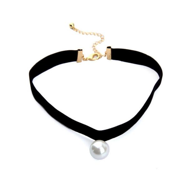 Neue Entwurfs-Dame elegante einfache Art-schwarze weiche Band-Halsketten-Halskette mit weißer Perle geben Verschiffen frei